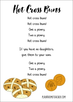Hot Cross Buns Words Border